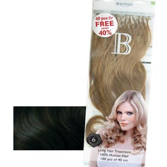 Balmain Fill-In Extensions Value Pack Natural Straight 1B Black, Pro Packung 100 Stück