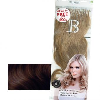 Balmain Fill-In Extensions Value Pack Natural Straight 4 Medium Brown, Pro Packung 100 Stück